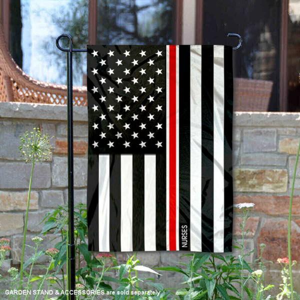 Red Thin Line Nurses Yard Garden Banner