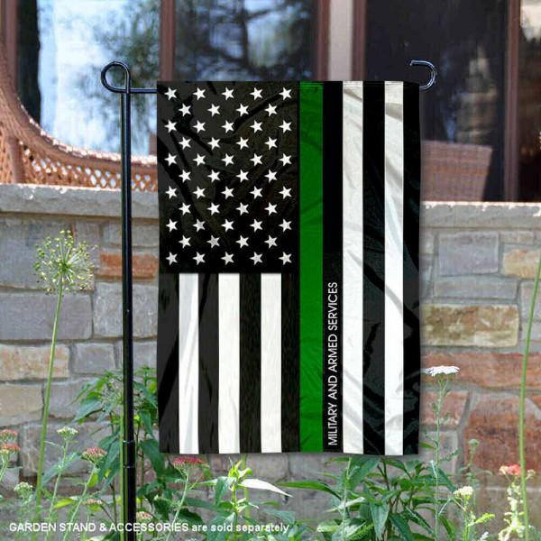 Green Thin Line Armed Services Yard Garden Banner