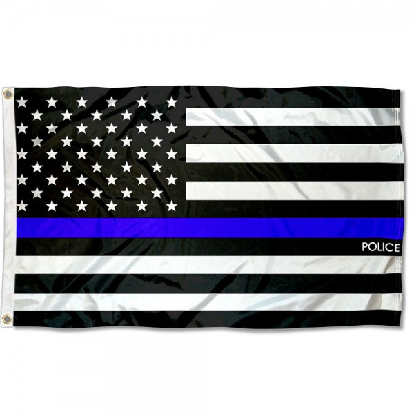 Police Blue Thin Line 3x5 Foot Flag