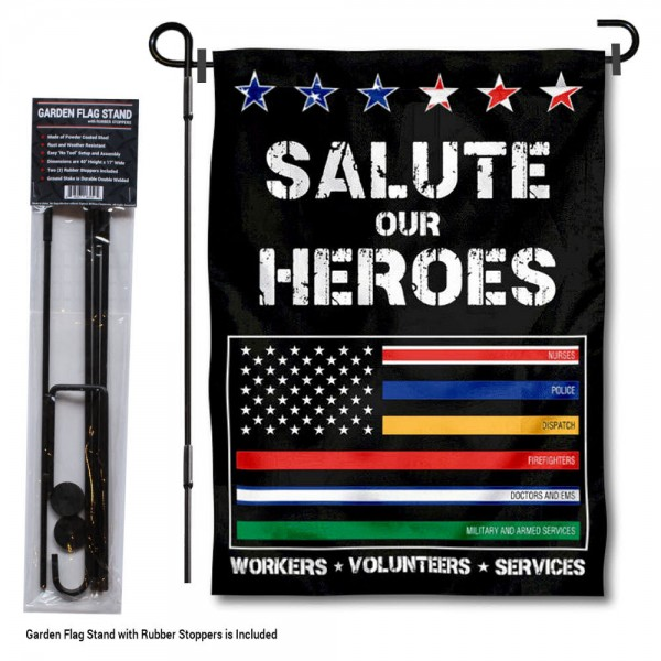 Salute Our Heroes Thin Line Garden Flag and Holder