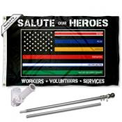 Thin Line Essential Workers 3x5 Flag Pole and Mount Kit