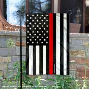 Red Thin Line Firefighters Yard Garden Banner