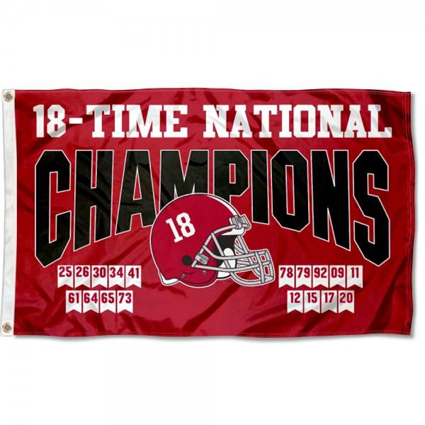 18 Time College Football Champions Alabama Crimson Tide 3x5 Foot Flag