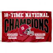 18 Time College Football Champions Alabama Crimson Tide 3x5 Foot Flag