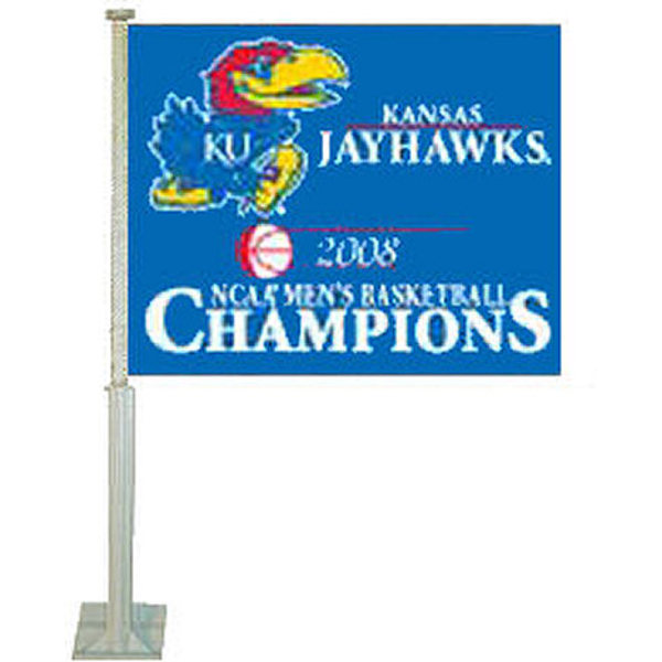 Kansas Jayhawks 2008 National Champs Car Flag