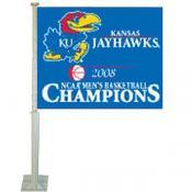 Kansas Jayhawks 2008 National Champs Car Flag
