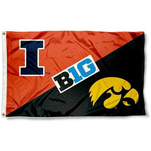 House Divided Flag - Illinois vs. Iowa