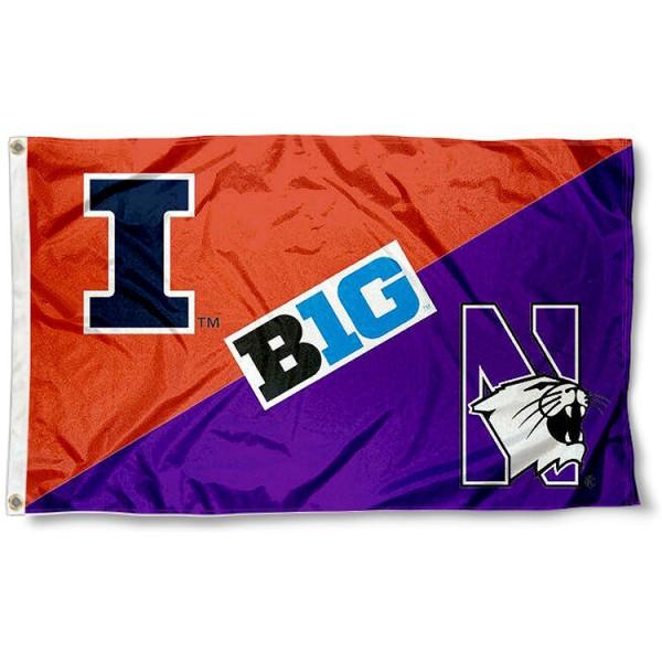 House Divided Flag - Illinois vs. Northwestern