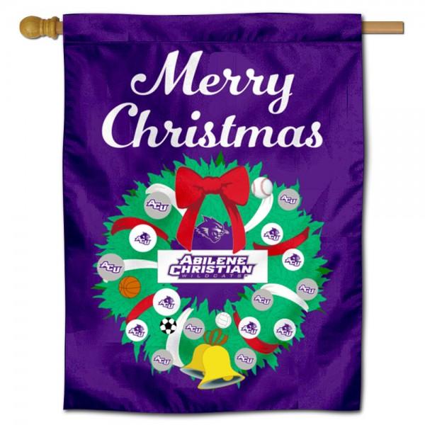 Abilene Christian Wildcats Christmas Holiday House Flag