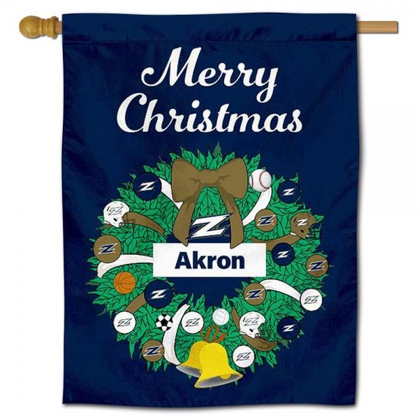 Akron Zips Christmas Holiday House Flag