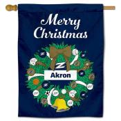 Akron Zips Christmas Holiday House Flag