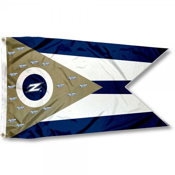 Akron Zips OH State Shaped Flag