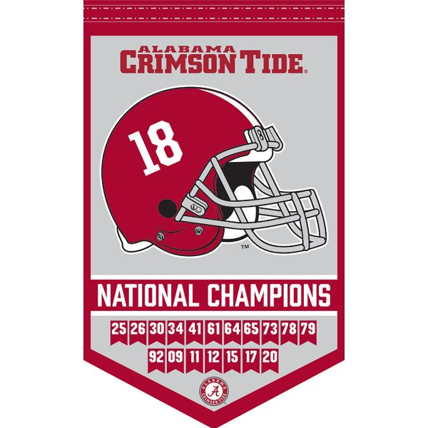 Alabama Crimson Tide 18x Times College Football National Champions Banner