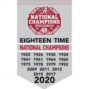 Alabama Crimson Tide 2020 18 Time College Football National Champions Banner