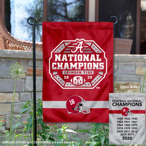 Alabama Crimson Tide 2020  and 18 Time Champions Double Sided Garden Flag
