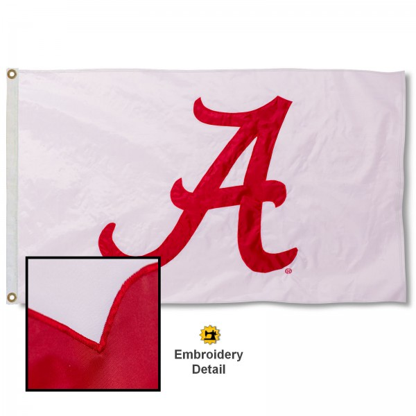 Alabama Crimson Tide Appliqued Sewn Nylon White Flag
