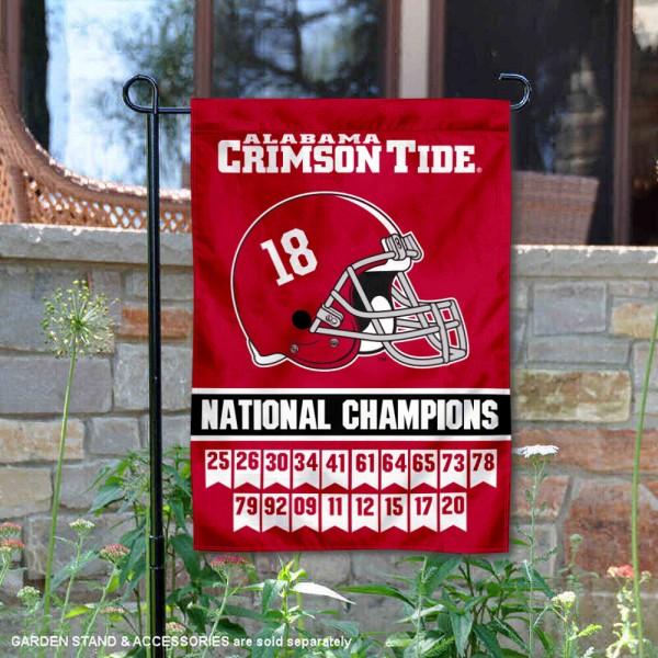 Alabama Crimson Tide Eighteen Time National Champions Double Sided Garden Flag