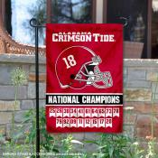 Alabama Crimson Tide Eighteen Time National Champions Double Sided Garden Flag