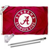 Alabama Crimson Tide Flag and Bracket Flagpole Kit