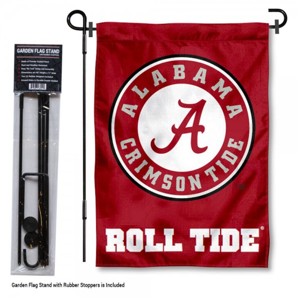 Alabama Crimson Tide Garden Flag and Holder