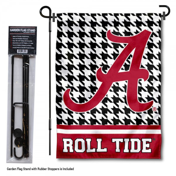 Alabama Crimson Tide Houndstooth Garden Flag and Holder