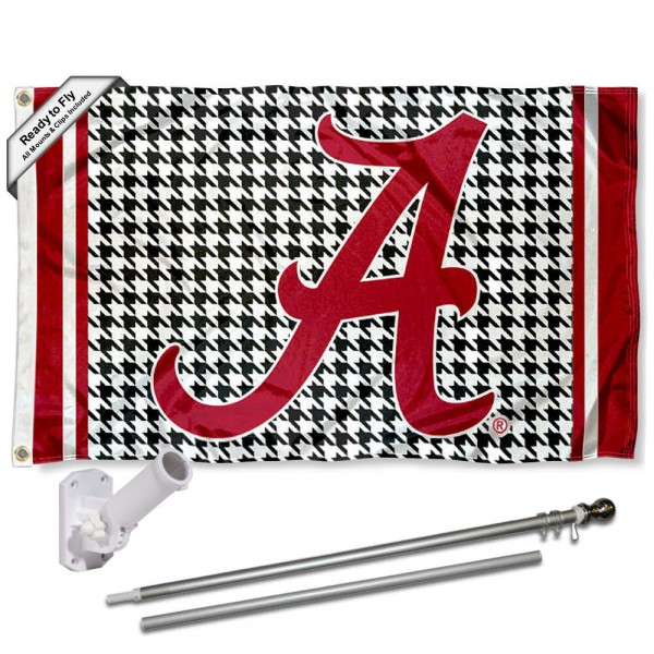 Alabama Crimson Tide Houndstooth Pattern Flag and Bracket Flagpole Kit
