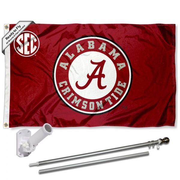 Alabama Crimson Tide SEC Flag and Bracket Flagpole Kit