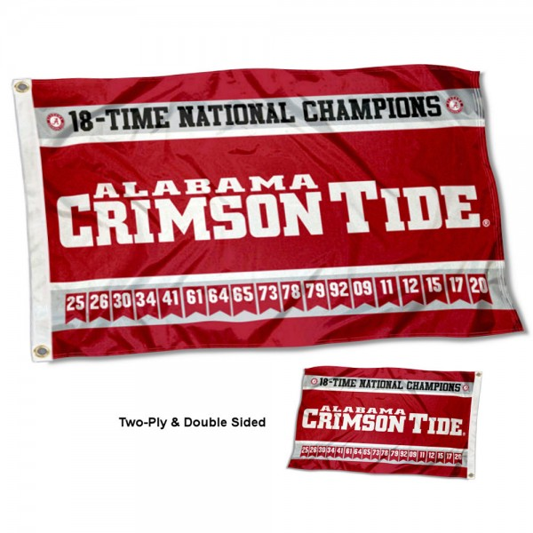 Alabama Crimson Tide Two Sided 18 Times Football Champions 3x5 Foot Flag