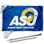 Angelo State University Outdoor Flag and Bracket Flagpole Set