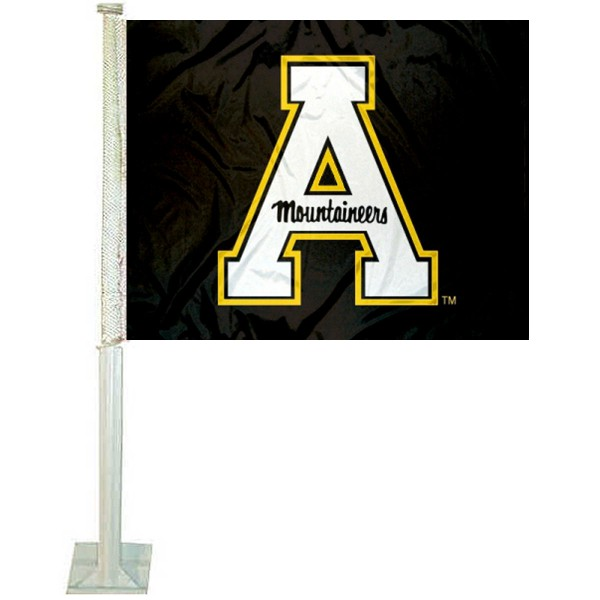 App State Mountaineers Black Car Flag