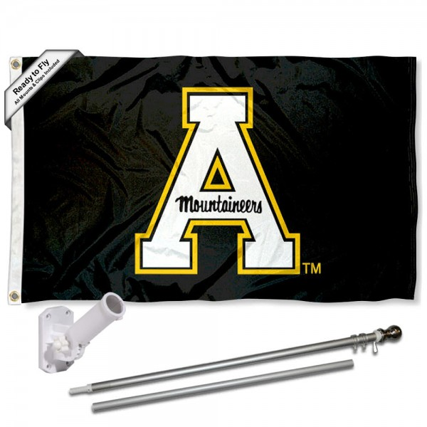 App State Mountaineers Flag and Bracket Mount Flagpole Set