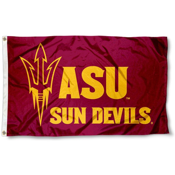 Arizona State Maroon Pitchfork Logo Flag