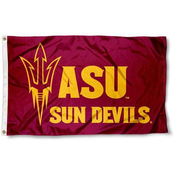 Arizona State Maroon Pitchfork Logo Flag