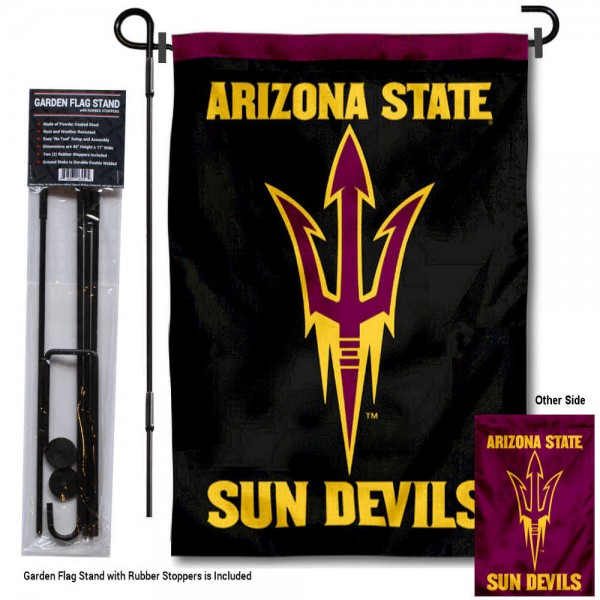 Arizona State Sun Devils Black Garden Flag and Holder