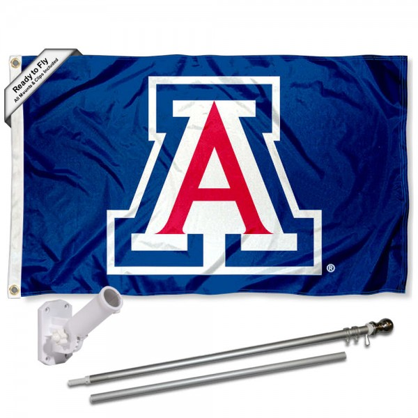 Arizona Wildcats Blue Flag and Bracket Flagpole Kit
