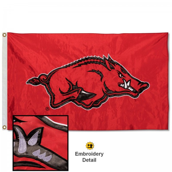 Arkansas Razorbacks Appliqued Nylon Flag