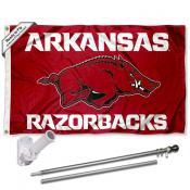 Arkansas Razorbacks Flag and Bracket Mount Flagpole Set