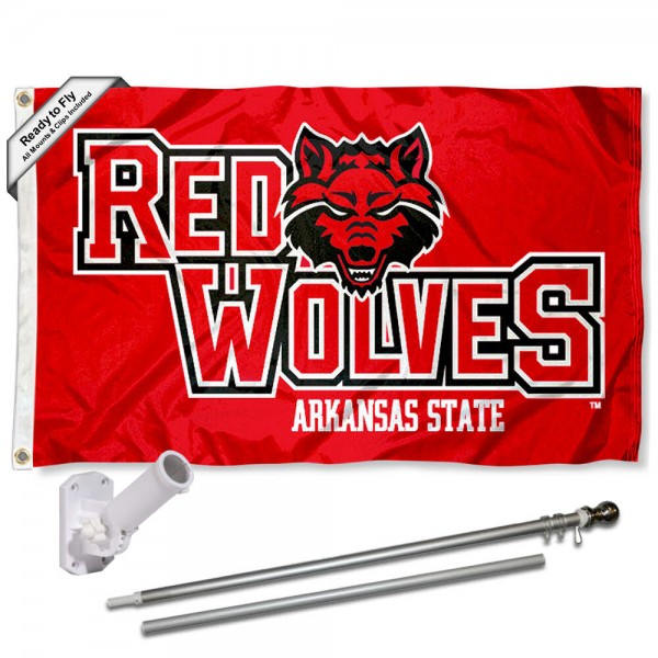 Arkansas State University Flag and Bracket Flagpole Kit