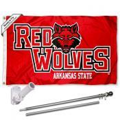 Arkansas State University Flag and Bracket Flagpole Kit