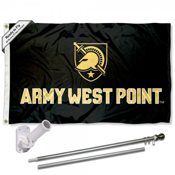 Army Black Knights Flag and Bracket Flagpole Kit