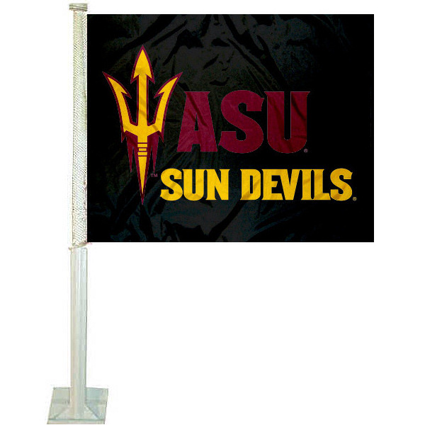 ASU Black Pitchfork Car Flag