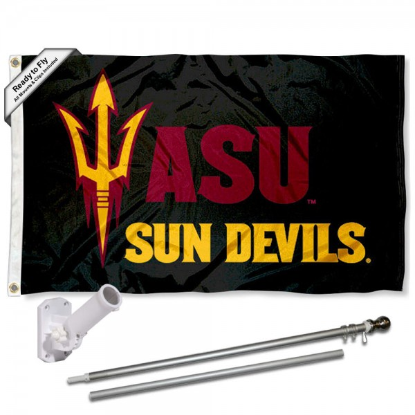 ASU Sun Devils Black Flag and Bracket Flagpole Set