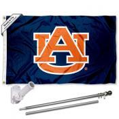 Auburn Blue Flag and Bracket Flagpole Kit