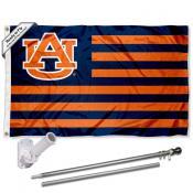 Auburn Flag and Bracket Mount Flagpole Set