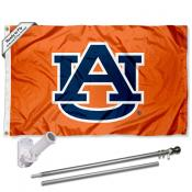 Auburn Orange Flag and Bracket Flagpole Set