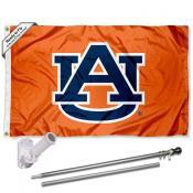 Auburn Orange Flag and Bracket Flagpole Set