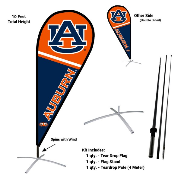 Auburn Tigers Teardrop Flag and Stand Kit