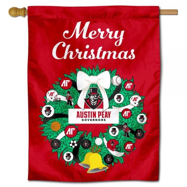 Austin Peay Governors Christmas Holiday House Flag