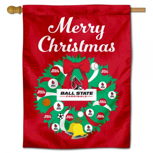 Ball State Cardinals Christmas Holiday House Flag