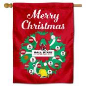Ball State Cardinals Christmas Holiday House Flag